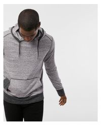 Express - Gray Heathered Long Sleeve Hoodie for Men - Lyst