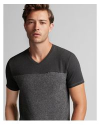 Express - Black Speckled V-neck Tee for Men - Lyst