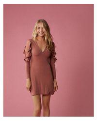 Express - Orange Ruffle Sleeve Mini Sheath Dress - Lyst
