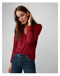 Express - Red Slim Fit Polka Dot Portofino Shirt - Lyst