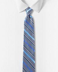 Express - Blue Diagonal Stripe Narrow Silk Tie for Men - Lyst