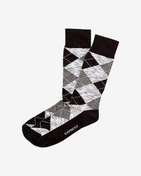 Express - Black Space Dye Argyle Dress Socks for Men - Lyst