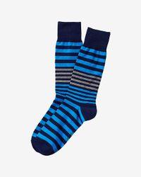 Express - Blue Stripe Print Dress Socks for Men - Lyst