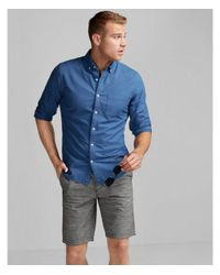 Express | Blue Soft Wash Garment Dyed Oxford Shirt for Men | Lyst