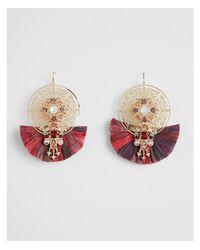 Express - Purple Stone Filigree Drop Earrings - Lyst