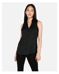 8493c8dd17ca5 Express Slim Sleeveless Satin Portofino Shirt in Black - Lyst