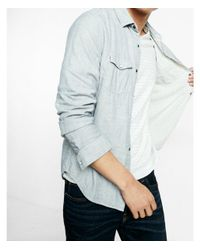 Express - Gray Double Weave Reversible Cotton Shirt for Men - Lyst