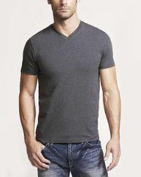 Express - Gray Flex Stretch Cotton V-neck Tee for Men - Lyst