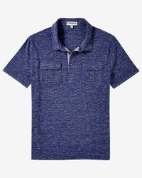 Express | Blue Marled Military Signature Polo for Men | Lyst