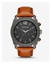 Express - Brown Rivington Textured Multi-function Leather Watch - Cognac for Men - Lyst