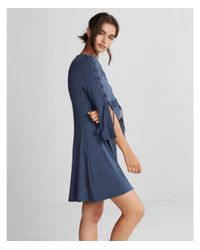 4703cddf7b Lyst - Express Lace-up Bell Sleeve Trapeze Dress in Blue