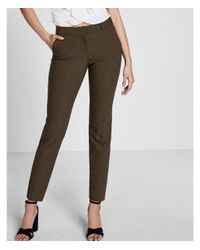 Express - Green Mid Rise Columnist Ankle Pant - Lyst