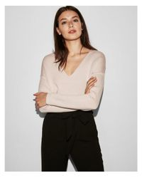 Express - Pink V-neck Wedge Sweater - Lyst