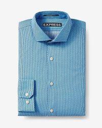 Express   Blue Modern Fit Microprint Dress Shirt for Men   Lyst