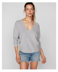Express - Gray Cotton Shaker Knit V-neck Sweater - Lyst