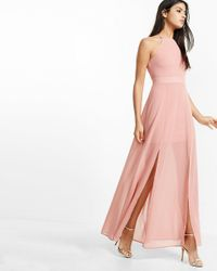 Express Pink Chiffon Halter Maxi Dress