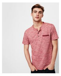 Express - Red Big & Tall Slub Jersey Contrast Henley for Men - Lyst