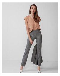Express - Orange Metallic Stripe V-neck Rolled Sleeve Blouse - Lyst