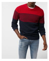 Express - Red Big & Tall Color Block Stripe Crew Neck Sweater for Men - Lyst