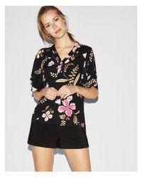 Express - Black Floral Kimono Sleeve Button Front Blouse - Lyst