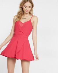 Express - Pink Faux Wrap Chiffon Inset Cami Romper - Lyst