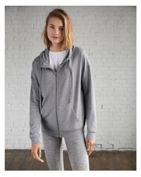 Express - Gray One Eleven Heathered Funnel Neck Zip Hoodie - Lyst