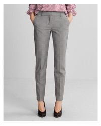 Express - Gray Mid Rise Columnist Ankle Pant - Lyst