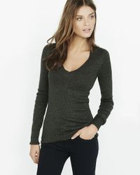 Express | Blue Marl Fitted V-neck Sweater | Lyst