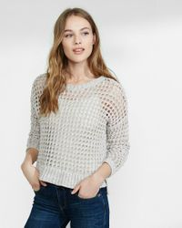 Express - Multicolor Marl Open Knit Hi-lo Sweater - Lyst