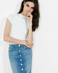 Express - Blue Ribbed Cap Sleeve Sweater - Lyst