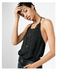 Express - Black Halter Neck Lace Inset Thong Bodysuit - Lyst