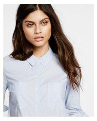 Express - Blue Tailored Full Button Shirt - Lyst
