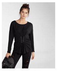 Express - Black Lace-up Corset Front Tee - Lyst