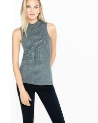Express - Gray Sleeveless Mock Neck Engineered Rib Sweater - Lyst