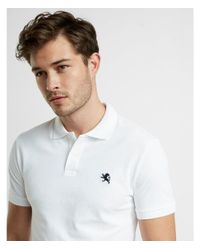Express - White Slim Fit Stretch Pique Polo for Men - Lyst