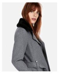 Express - Gray Short Faux Fur Collar Belted Wool-blend Coat - Lyst