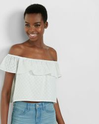 Express - White Off The Shoulder Eyelet Flounce Top - Lyst
