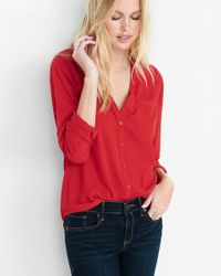Express | Red Convertible Sleeve Portofino Shirt | Lyst