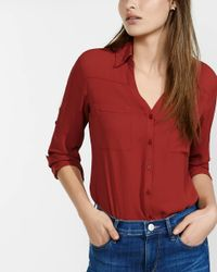 Express - Red Original Fit Convertible Sleeve Portofino Shirt - Lyst