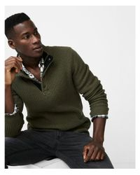 Express - Green Big & Tall Snap Mock Neck Sweater for Men - Lyst