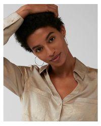 Express - Metallic Slim Fit Satin Portofino Shirt - Lyst