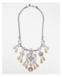 Express - Metallic Encrusted Filigree Statement Necklace - Lyst