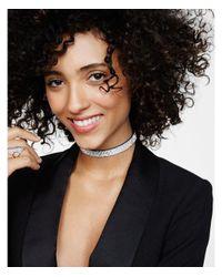 Express - Metallic Rhinestone Choker Necklace - Lyst