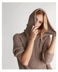 Express - Brown Extreme Circle Hem Cozy Chenille Hooded Sweater - Lyst
