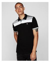 Express - Black Small Lion Color Block Stretch Polo Shirt for Men - Lyst