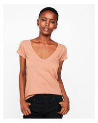 Express - Brown One Eleven Extra Slim Fit Slub V-neck Tee - Lyst