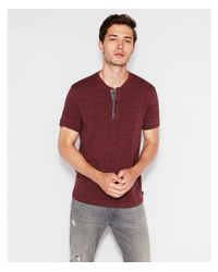 Express - Red Wide Placket Short Sleeve Henley for Men - Lyst