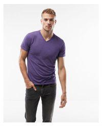 Express - Purple Big & Tall Heathered Slim Stretch V-neck Tee for Men - Lyst