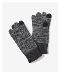 Express - Gray Cable Knit Marled Gloves - Lyst