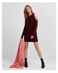 Express - Red Cold Shoulder Cable Knit Sweater Dress - Lyst